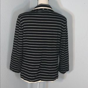 NY Collection Jackets & Coats - NY Collection Black&White Striped Open Blazer NWOT